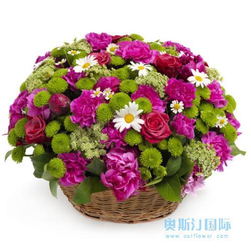 奥斯汀国际送花玫瑰康乃馨花篮欧洲送花法国送花法国巴黎鲜花速递国际